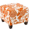 57-2GRDBRDORNOGA Garden Bird Orange Square Ottoman
