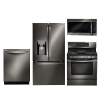 KIT LG 4 Piece Gas Kitchen Appliance Package with French Door Smart Refrigerator - Black Stainless Steel