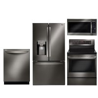 KIT LG Black Stainless Steel 4 Piece Kitchen Appliance Package with Electric Range