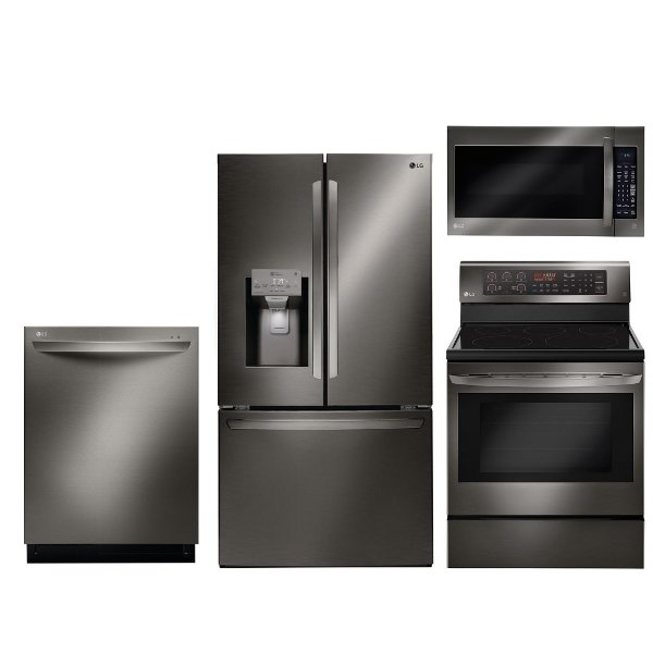 ... KIT LG Black Stainless Steel 4 Piece Kitchen Appliance Package With  Electric Range