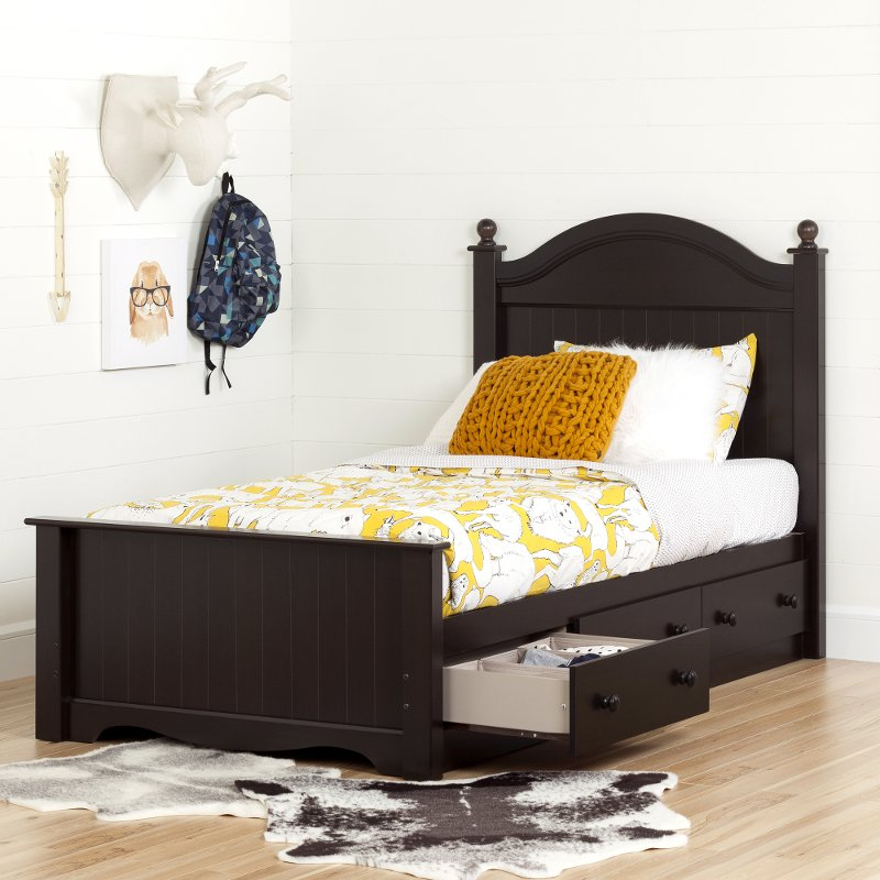 Savannah Chocolate Twin Bed Set With 3 Drawers 39 Inch Rc Willey Furniture