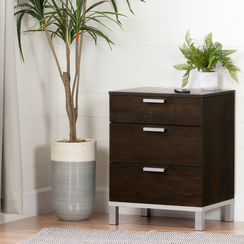 Brown Oak Nightstand Charging Station Flexible Rc Willey Furniture