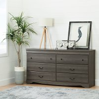 10303 Gray Maple 6-Drawer Double Dresser - Vintage