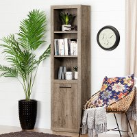10486 Weathered Oak 3 Shelf Bookcase with Door - Kanji
