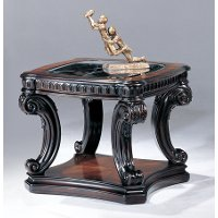 Traditional Brown Glass Top End Table - Grand Estates