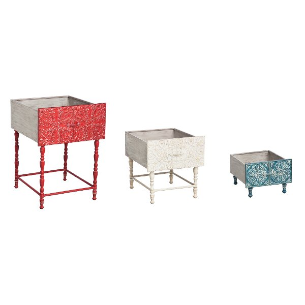 Ordinaire Set Of 3 Wood And Metal Embossed Planter Boxes