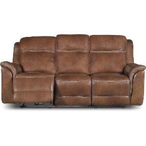 ... Pacific Oak Brown Leather Match Power Reclining Sofa ... Part 81