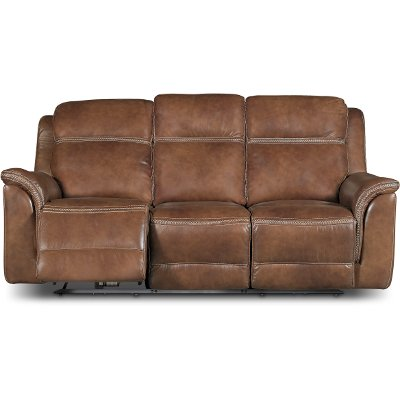 Pacific Oak Brown Leather-Match Power Reclining Sofa