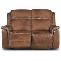 Pacific Oak Leather-Match Power Reclining Loveseat