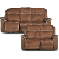 Pacific Oak Brown Leather-Match Power Reclining Sofa & Loveseat