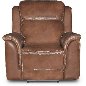 ... Pacific Oak Brown Leather-Match Power Recliner ...  sc 1 st  RC Willey & Leather Recliners - Chairs - Living Room - RC Willey islam-shia.org