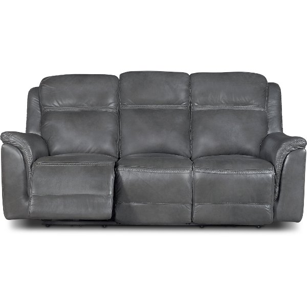 ... Pacific Charcoal Gray Leather Match Power Reclining Sofa