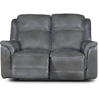 Pacific Charcoal Gray Leather-Match Power Reclining Loveseat