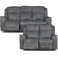 Gray Leather-Match Power Reclining Sofa & Loveseat