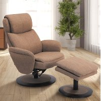Comfort Chair Taupe Fabric Swivel, Recliner with Ottoman