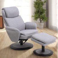 Light Gray Swivel Recliner with Ottoman - Comfort Chair