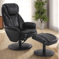Black Leather Swivel Recliner with Ottoman - Comfort Chair