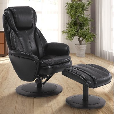 Black Leather Swivel Recliner With Ottoman   Comfort Chair