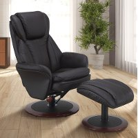 Java Brown Leather Swivel Recliner with Ottoman - Comfort Chair