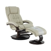 Beige Leather Recliner with Ottoman - Oslo