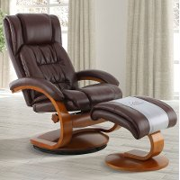 Whiskey Brown Leather Recliner with Ottoman - Oslo
