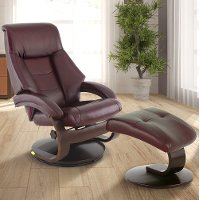 Merlot Burgundy Top Grain Leather Swivel Recliner with Ottoman - Oslo