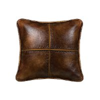 Brown Cross Stitched Faux Leather Throw Pillow