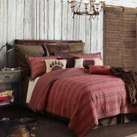 Soft Red and Chocolate Tones Rushmore Full-Queen Bedding Collection