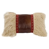Mongolian Fur Pillow with Faux Leather and Studs