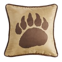 Faux Suede Bear Claw Throw Pillow Reverses to Faux Leather