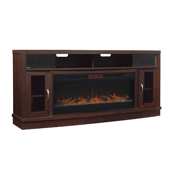 Enterprise Black Media Fireplace69999 70 Inch Antique Cherry Brown TV Stand  With Fireplace   Deerfield