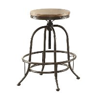 Wood and Metal Adjustable Backless Bar Stool - Angstrom
