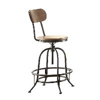 Wood and Metal Adjustable Bar Stool - Angstrom