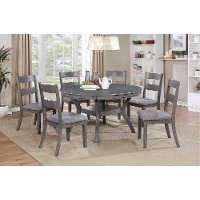 Gray transitional 7 piece round dining set warwick rc for Furniture zone warwick