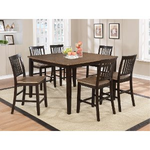 Clearance Oak And Espresso Counter Height Dining Table