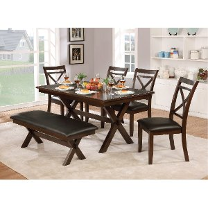 Dark Cherry Transitional 6 Piece Dining Set With Bench
