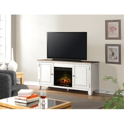 68 Inch White TV Stand with Fireplace