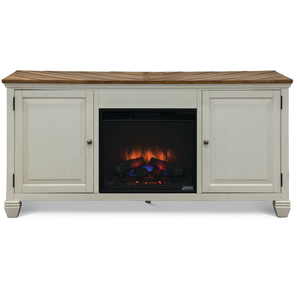 This beautiful 68 inch white TV stand with fireplace from RC Willey presents a unique home for all your electronics and related accessories. Crafted from premium select hardwoods and veneers