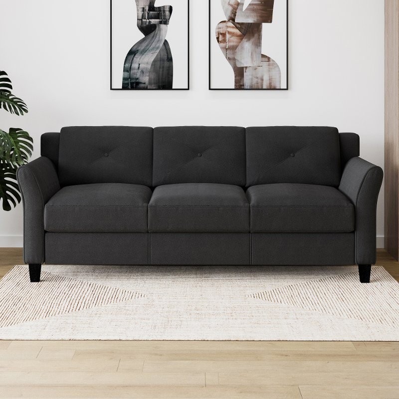 Contemporary Black Sofa - Harvard
