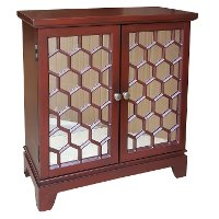 Clearance Red Honeycomb 2-Door Mirrored Cabinet