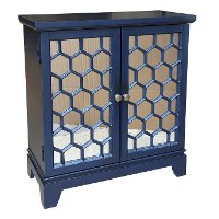 Blue Honeycomb 2-Door Mirrored Cabinet