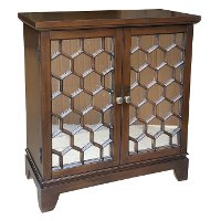 Clearance Walnut Honeycomb 2-Door Mirrored Cabinet