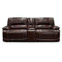 Burgundy 3 Piece Leather-Match Power Reclining Console Loveseat - Brant