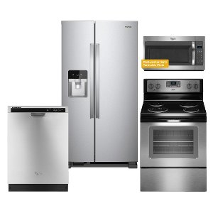 Kit Whirlpool Stainless Steel 4 Piece Kitchen Appliance Package With Electric Range