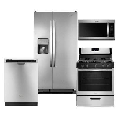 Kit Whirlpool Stainless Steel 4 Piece Kitchen Appliance Package With Gas Range