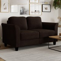 Classic Contemporary Coffee Brown Loveseat - Westley