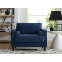 Mid Century Modern Navy Blue Chair - Lawrence