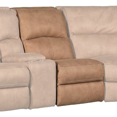 Tan Armless Power Recliner with Power Headrest