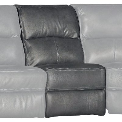 Gray Armless Power Recliner with Power Headrest
