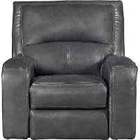 Slate Gray Leather-Match Power Recliner - Megan